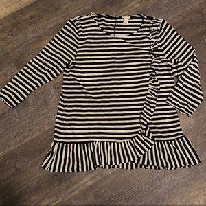 J Crew medium asymmetrical ruffle soft tunic